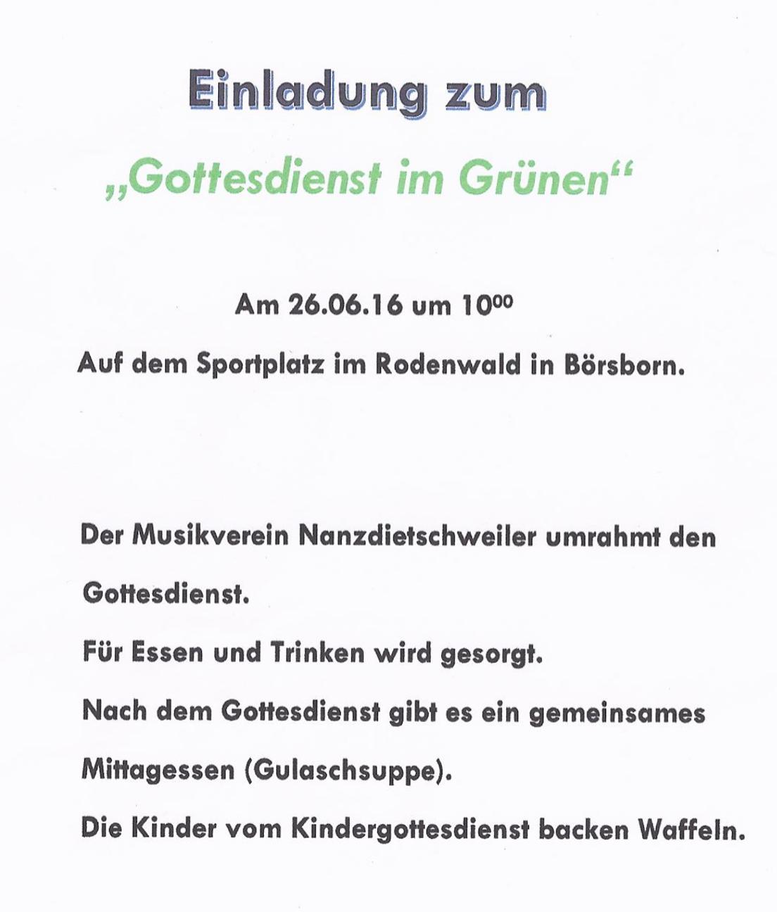 """prot.kirchengemeinde - einladung zum """"gottesdienst im grünen"""", Einladung"""